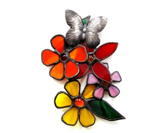 Flower stained glass, flower suncatcher, 3D flowers, flower bouquet, butterfly art, flower art, window decoration, everlasting flowers, gift