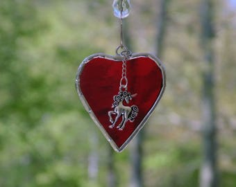 I love unicorns, mini stained glass heart suncatcher with unicorn charm, little red heart suncatcher ornament, unicorn collector gift