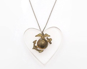 USMC Sweetheart Necklace - Clear Lucite, Heart Pendant, United States Marine Corps, Military Jewelry, Semper Fi, Vintage Necklace
