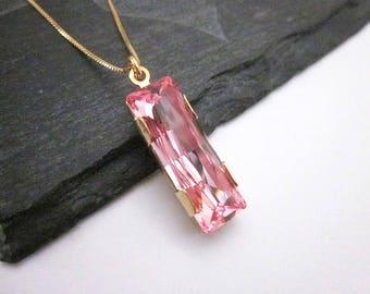 Crystal Bar Necklace -- Pink Swarovski Pendant Necklace -- Light Pink Crystal Necklace -- Pink Bling Necklace -- Light Rose Necklace