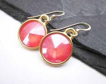 Peach Coral Earrings -- Coral Swarovski Earrings -- Coral Crystal Dangles -- Round Coral Earrings -- Light Coral Swarovski Earrings