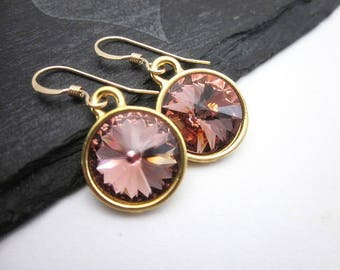 Blush Earrings -- Blush Drops -- Gold & Blush Earrings -- Blush Pink Dangles -- Blush Swarovski Earrings -- Blush Rose Crystal Earrings