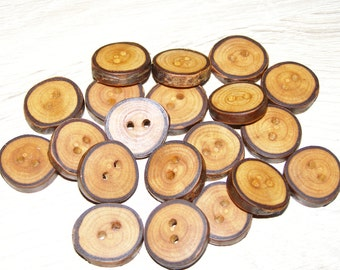 """Small 20 Handmade plum wood Tree Branch Buttons with Bark, accessories (0,79'' diameter x 0,16"""" thick)"""