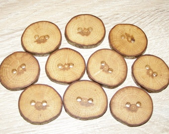 "10 Handmade oak wood Tree Branch Buttons with Bark, accessories (1,18"" diameter x 0,20"" thick)"