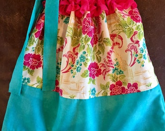Custom Boutique handmade Floral Hot Pink and Teal Ruffled Pillowcase Dress