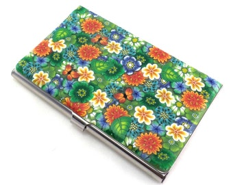 Colorful Polymer Clay Business Card  Case, Flower and Butterfly Design