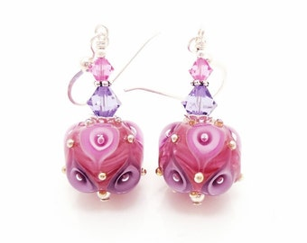 Pink and Purple Earrings, Lampwork Earrings, Glass Earrings, Glass Bead Earrings, Beadwork Earrings, Unique Earrings, Glass Art Earrings