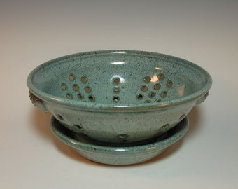Frosty Speckled Aqua Colander Fruit Bowl with Drainage Tray  - In Stock
