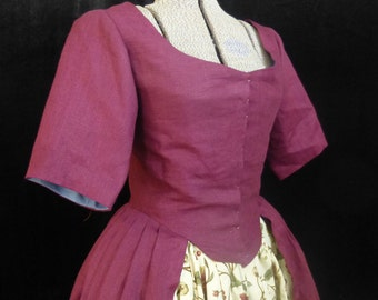 Coarse Linen Gown, Robe A L'Anglaise, 18th Century, size 8