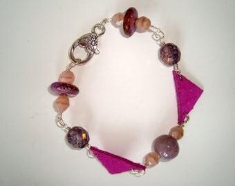 Purple, Lavender an Fuschia Bracelet, BOHO Bracelet, Wire wrapped Bracelet, Large Clasp, Fuschia Leather Accents, Czech Glass Beads