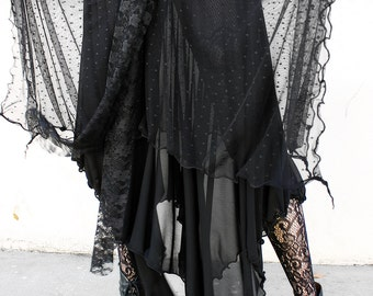 WITCHY DOTTED TULLE and sheer mesh layered maxi skirt
