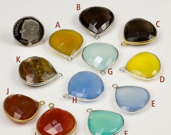 ON SALE Aqua Chalcedony Pendant, Large Heart, Lemon Quartz, Smoky, Yellow, Blue, Black, Carnelian, One Loop, Sterling, 24K Vermeil, Faceted