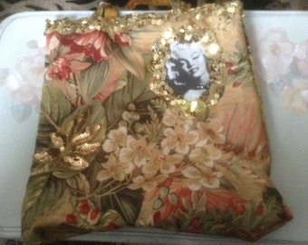 Tropical tote bag with image of Marilyn Monroe