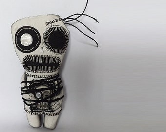 Scary Doll Voodoo Art Doll Soft Sculpture Doll Textile Art Mixed Media