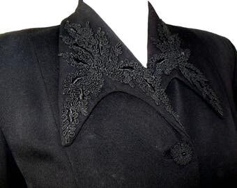 Pitch Black Hourglass Vintage Late 1940s SUIT Jacket with Soutache Cord Trim On Collar and Pocket