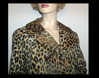 Caramel brown black 1960s leopard print faux fur jacket Medium Large ~ doublebreasted mini pea coat lined chocolate satin peacoat back belt