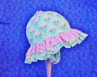 Double Ruffle Baby Sun Hat, Mint Green and Pink with Chin Straps and Snaps