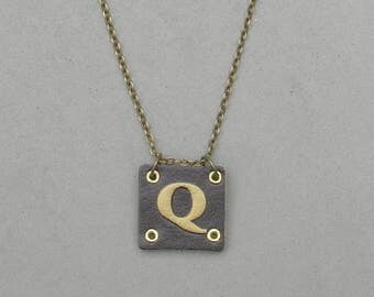 Square Leather Q Necklace