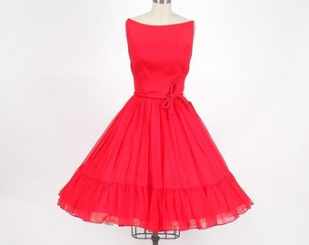 50s Dress, Vintage 1950s Red Dress, 1950s Chiffon Party Dress