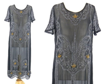 1920s Beaded Flapper Dress, 20s Dress, Art Deco Dress, Bohemian Tunic Dress, Beaded Wings Dress