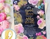 Floral Bridal Shower Invitation, Floral Invitation, Watercolor Bridal Shower Invitation, Watercolor Invite, Printed or Printable Invitations