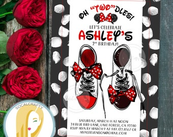 Minnie Mouse Birthday Party Invitation, Minnie Mouse Invitation, Oh Twodles Invitation, Black Red, DIY, Printable or Printed Invitations