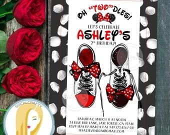 Minnie Mouse Birthday Party Invitation, Minnie Mouse Invitation, Oh Twodles Invitation, Black Red, DIY, Printable or Printed Invitations