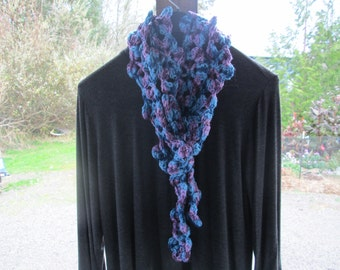 Variegated Blues Flowered Acrylic Scarf by SuzannesStitches, Hand Crocheted Scarf, Crocheted Scarf, Flowered Scarf, Blue and Purple Scarf