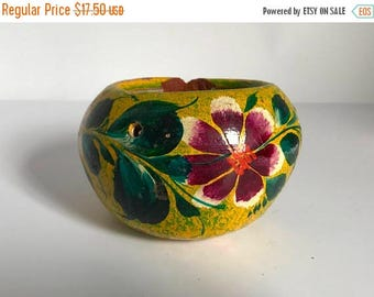 Vintage Mexican Hand Painted Terra Cotta Sitting / Hanging Flower Pot / Planter - Made in Mexico