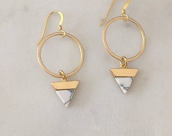 Marble Gold Earrings - Handmade - 14k Gold Filled