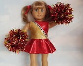 18 inch doll clothes -  Red and Gold Cheerleader handmade to fit the American girl doll