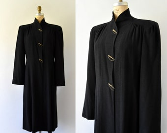 1940s Vintage Coat - 40s Black Wool Princess Dress Coat