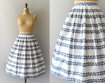 Vintage 1950s Skirt - 50s Blue and White Cotton Full Skirt
