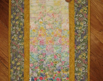 Shabby Chic Sunshine Garden Flowers Art Quilt, Fabric Wall Hanging, Summer Flowers Quilted Wall Hanging