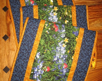 "Wildflower Quilted Table Runner, Blue Red Yellow Flowers, 15 x 47"" or 15 x 70"", Reversible, 100% cotton fabrics"