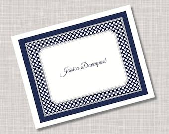 Custom Navy Blue Tiny Polka Dots Name Note Cards