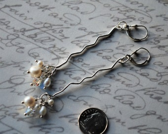Long and Unique Sterling Silver, White Freshwater Pearls and Swarovski Crystal Earrings