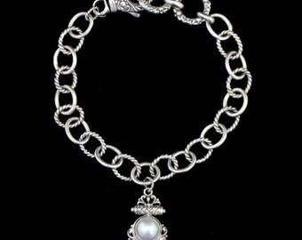 Robert Manse Sterling Silver 18K Gold Pearl Bracelet