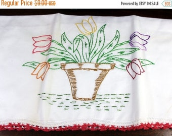 Embroidered Pillow Case - Vintage Cotton Pillowcase Red Crocheted Edging 12094