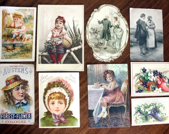 9 Victorian Trade and PostCards, Antique Images, Original Cards Cut From Albums, Die Cuts, 13900