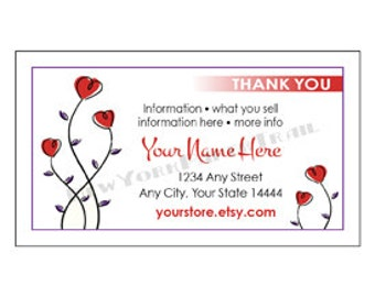 Printable Thank You Card, Business Card, Modern Thank You Card, Cards, Flower Business Card, Floral Card, Heart by NewYorkPaperTrail on Etsy