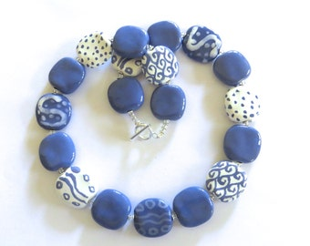 Kazuri Beaded Necklace, Fair Trade, French Blue and White Ceramic Necklace