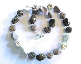 Ceramic Jewelry, Kazuri Bead Necklace, Grey White and Brown