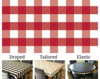 Laminated cotton aka oilcloth tablecloth custom size and fit choose elastic, tailored, or draped, red and white gingham