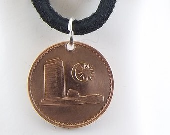Malaysian Coin Necklace, 1 Sen, Mens Necklace, Womens Necklace, Coin Pendant, Leather Cord, Birth Year, 1967, Vintage