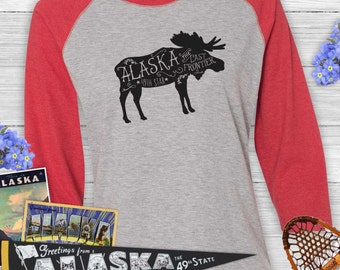 Alaska Shirt ~ Moose Shirt ~ Ladies Raglan Baseball T-shirt - Alaska Moose T-shirt