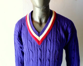"""Men's Blue Wool Cable Knit Tennis Sweater 1970s Preppy W.A. King Santa Barbara Classic Nantucket Palm Springs Resort Cool sz L  44"""" Chest"""