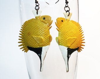 Fish Earrings - Yellow Black Earrings - Longnose Butterflyfish Earrings - Statement Earrings - Tropical Earrings - Upcycled Earring - R10