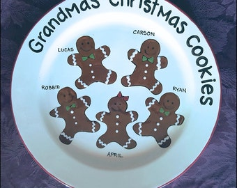 Custom Christmas Platter,Gingerbread man,Personalized Platter,Gift for Parents,Christmas Gift for Grandparents,Christmas Cookie Family Plate