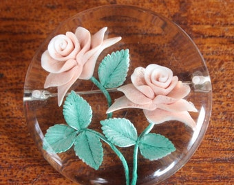 Vintage Lucite Plastic Roses Pin